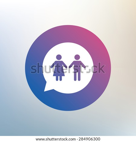 Toilet sign icon. Restroom or lavatory speech bubble symbol. Icon on blurred background. Vector