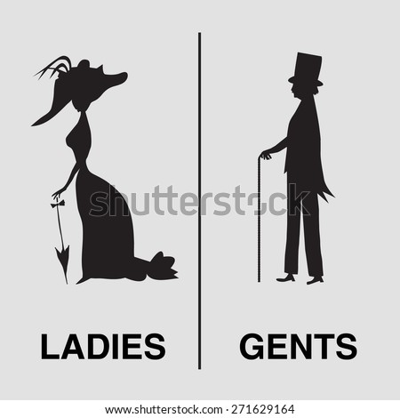 Toilet Sign in vintage style. lady and gentleman symbol. Vector silhouettes (for WC use for example) - stock vector