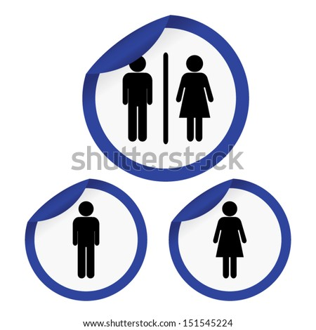 Toilet Sign with Blue Circle Border, Man Sign, Women Sign. Vector - EPS10 Vector - stock vector