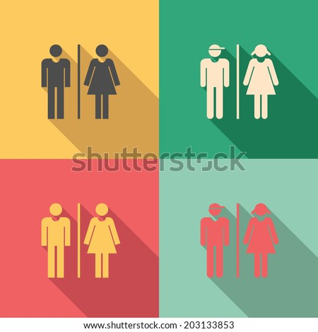 Bathroom Signs Holding Hands toilet signs set male female icons stock vector 203133853