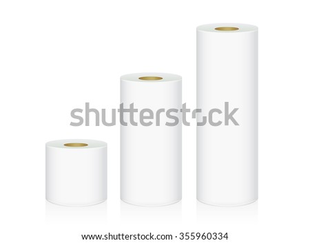 Toilet tissue 3 size in one picture which collate from small to big size. - stock vector