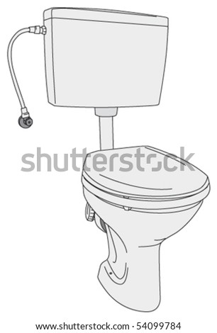 Toilet with the seat and lid down - stock vector
