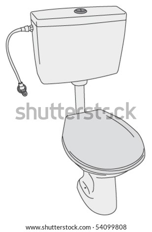 Toilet with the seat and lid down, high view - stock vector