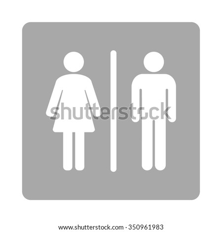 Toilets vector icon. Style is flat rounded square button, white and silver colors, white background.