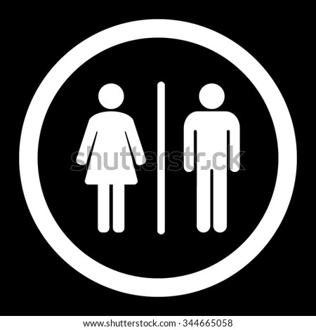 Toilets vector icon. Style is flat rounded symbol, white color, rounded angles, black background.