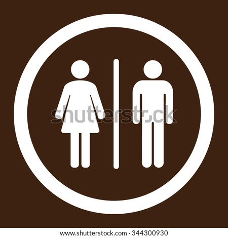 Toilets vector icon. Style is flat rounded symbol, white color, rounded angles, brown background.