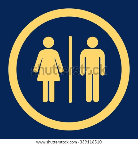 Toilets vector icon. Style is flat rounded symbol, yellow color, rounded angles, blue background.