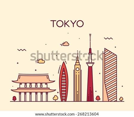 Tokyo City skyline detailed silhouette. Trendy vector illustration, line art style. - stock vector