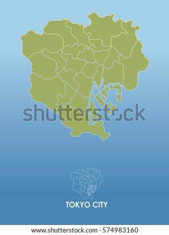 Tokyo Citytokyo Map On White Background Stock Vector - Japan map tokyo