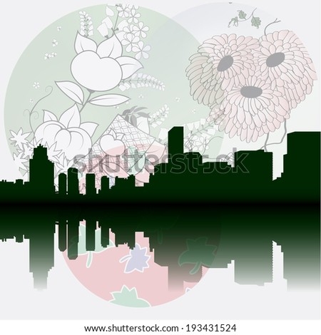 Tokyo City Vector silhouette Skyline on Japanese stylized background