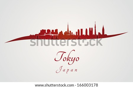 Tokyo skyline in red and gray background in editable vector file