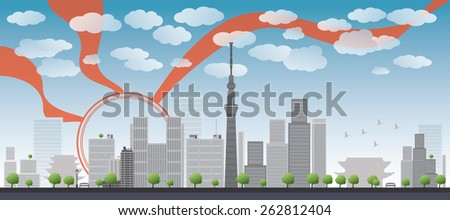 Tokyo skyline with skyscrapers and sun Vector illustration. Business travel and tourism concept with place for text. Image for presentation, banner, placard and web site