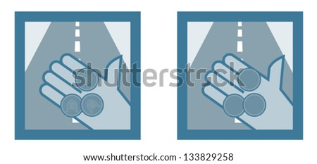 Toll roads, tunnels, bridges vector icon - stock vector