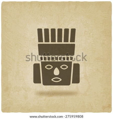Toltec Warrior head. Mexico ancient culture symbol old background. vector illustration - eps 10 - stock vector