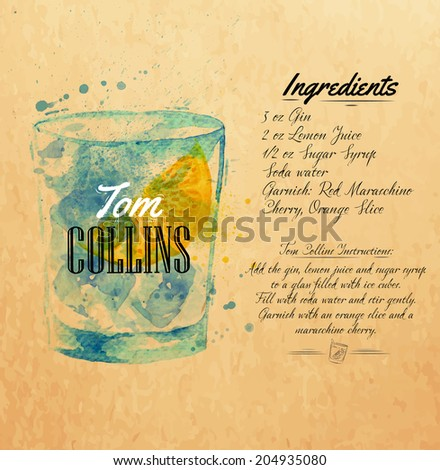 Tom Collins cocktails drawn watercolor blots and stains with a spray, including recipes and ingredients on the background of kraft - stock vector