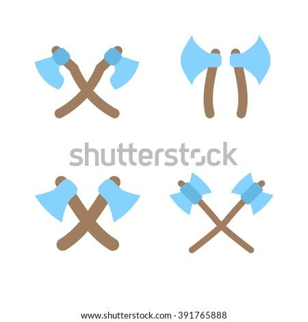 Tomahawk vector icon. American Tomahawk vector logo. Tomahawk sign set. Traditional Tomahawk. Indian Tomahawk. Axe vector icon - stock vector