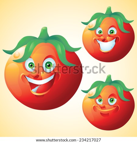Tomato face expression cartoon character set