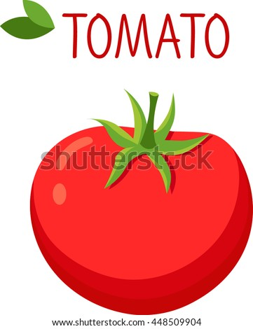 Tomato in cartoon style, logo. Tomato icon. Isolated object. Vegetable from the farm. Organic food. Vector illustration.