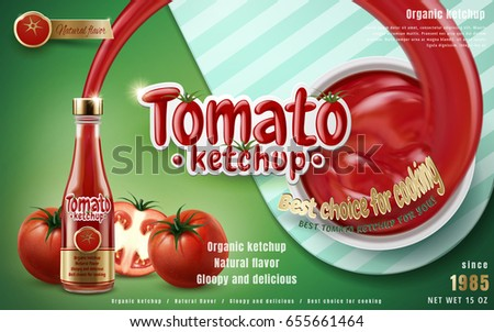 tomato ketchup ad with ketchup shooting out from glass bottle, green background 3d illustration