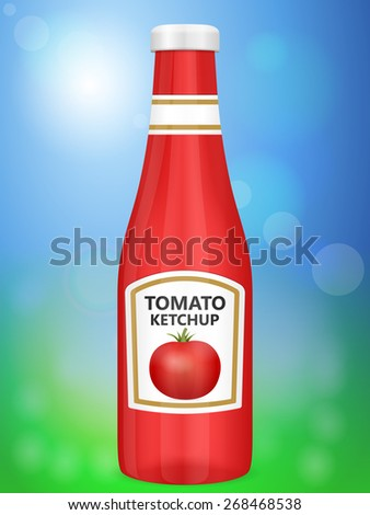 Tomato ketchup bottle on abstract background.