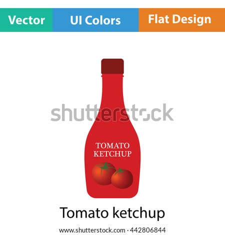 Tomato ketchup icon. Flat color design. Vector illustration.