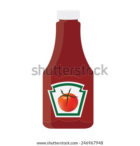 Tomato ketchup, sauce bottle vector icon, with label, sticker