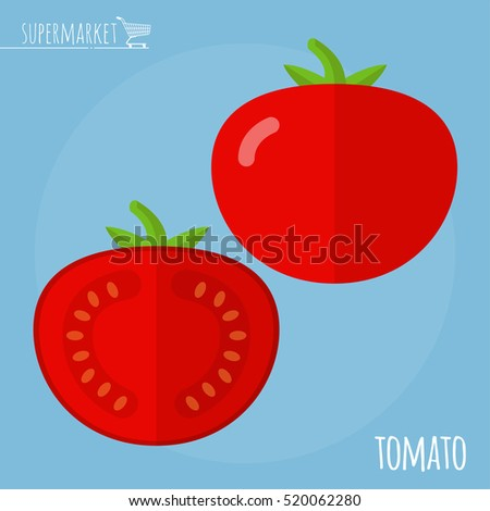 Tomato. Long shadow flat design vector icon.