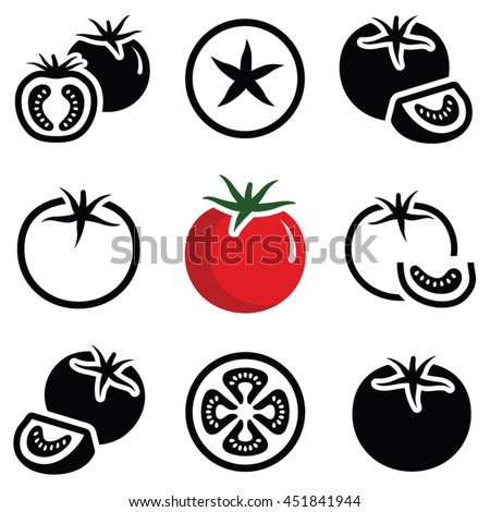 Tomato vegetable icon collection - vector outline and silhouette - stock vector