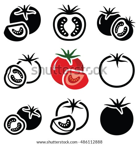 Tomato vegetable icon collection - vector outline and silhouette
