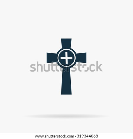 Tombstone - cross gravestone. Flat vector web icon or sign on grey background with shadow. Collection modern trend concept design style illustration symbol - stock vector