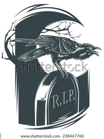 Tombstone Crow - stock vector