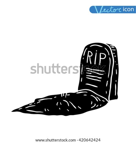 Tombstone halloween icon. vector illustration.