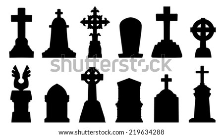 tombstone silhouettes on the white background - stock vector