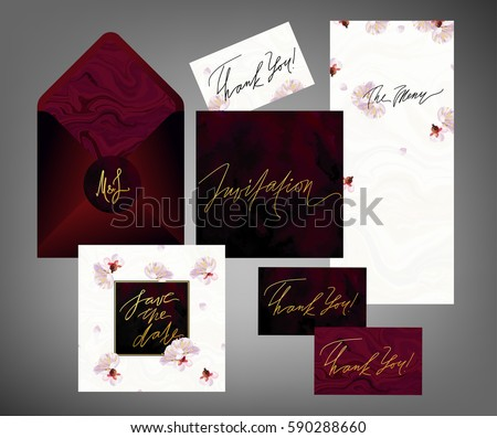 Tony wedding invitation suite vector template. Pink and white spring plum tree flowers floral textured card, menu envelope with calligraphy elements. Soft velvet, black marble textures.
