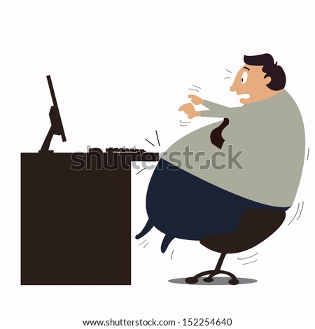 Too fat at work. Businessman struggles himself at work because he becomes too fat. Obesity concept in business.  - stock vector