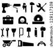Tool and hardware icon set in black - stock vector