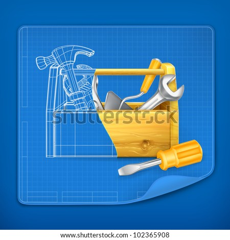 Tool box blue print, vector - stock vector