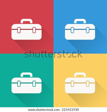 tool box icon , flat design on 4 color background - stock vector