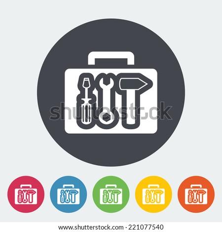 Tool box. Single flat icon on the circle. Vector illustration. - stock vector