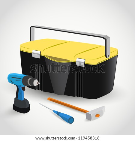 Tool Box with drill, hammer, screwdriver - stock vector