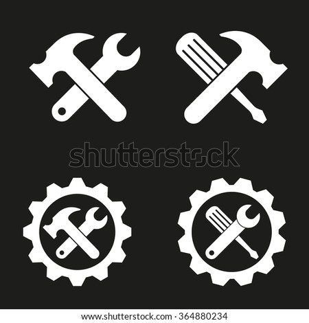 Tool   icon  on black background. Vector illustration. - stock vector