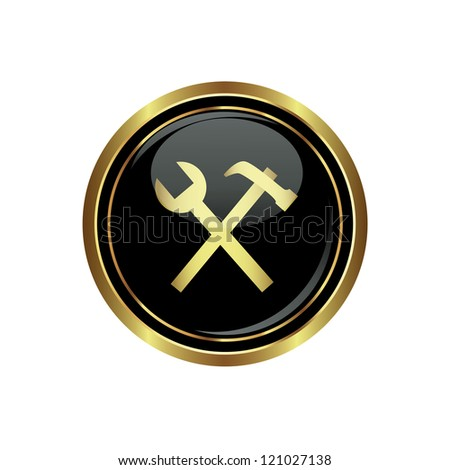 Tool icon on the black with gold round button. Vector illustration - stock vector