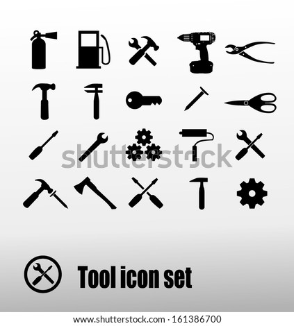 Tool icon set - stock vector