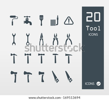 Tool icon set ( Set of 20 Quality icons ) - stock vector