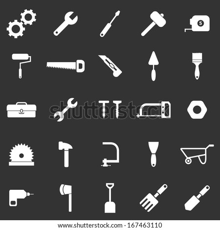 Tool icons on black background, stock vector - stock vector