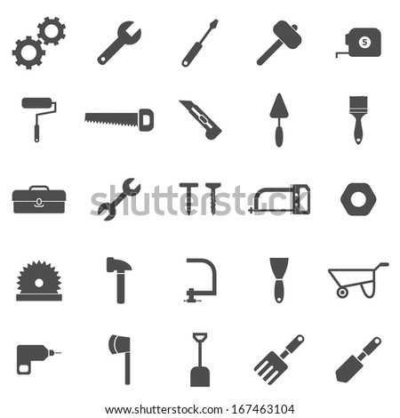 Tool icons on white background, stock vector - stock vector