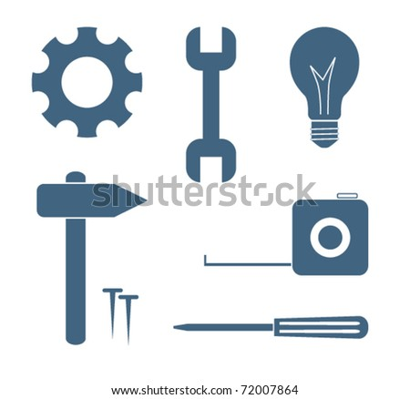 Tool icons silhouette collection vector set - stock vector