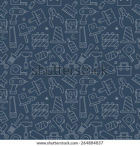 Tool line icon pattern set