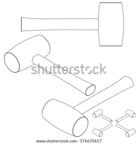 tool mallet line drawing isometric set
