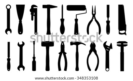 tool silhouttes on the white background - stock vector